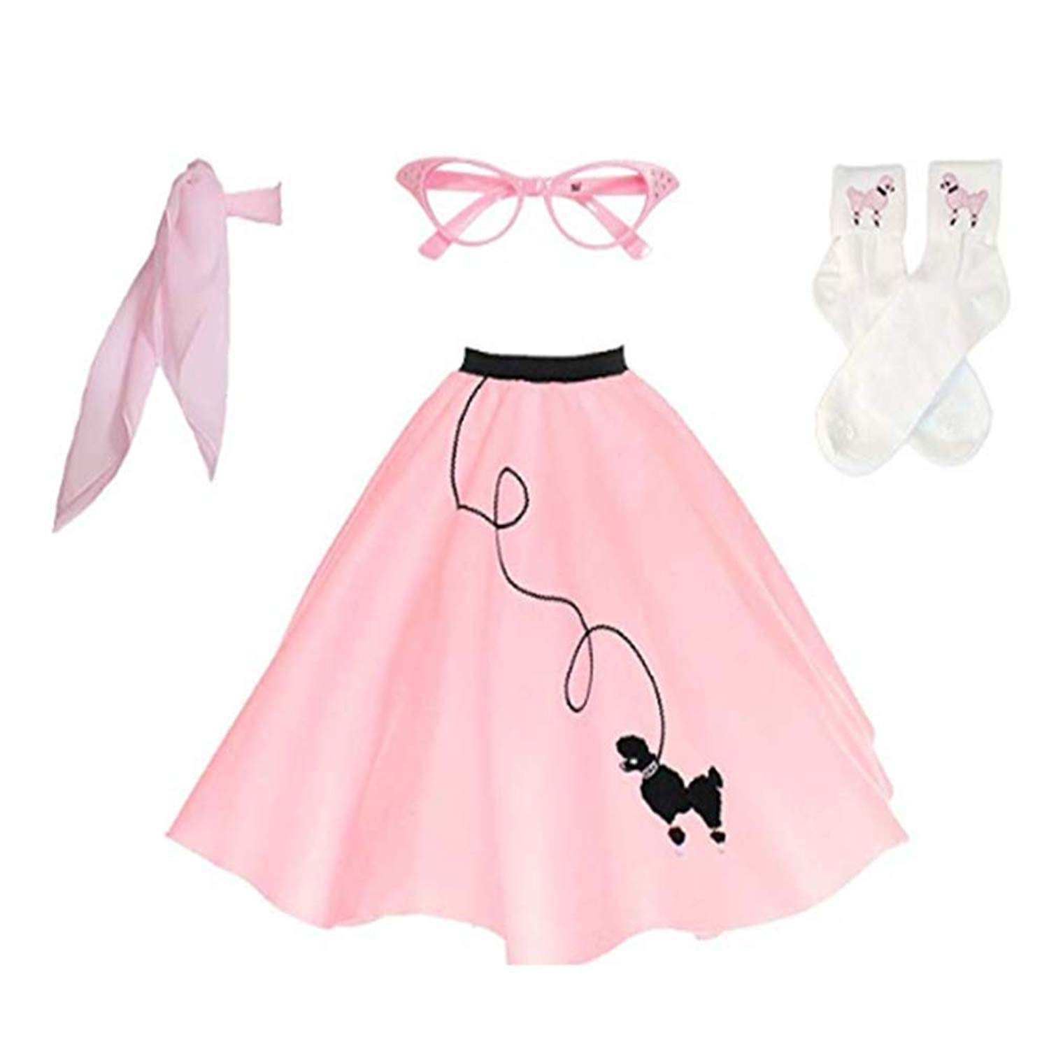 Paniclub Women¡s 1950s Poodle Skirt Scarf Sock Costume Set,Pink,Small