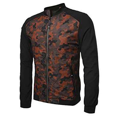 a55d09370b8e1 Amazon.com: Realdo Mens Sport Jacket Clearance Sale, Casual Daily Camouflage  Mesh Zipper Front Coat Outwear: Clothing