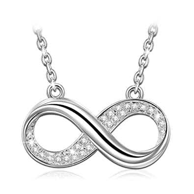 ANGEL NINA Infinity Love Necklace for Women Wife 925 Sterling Silver  Infinity Necklaces for mom Grandma 3b177a4c278f