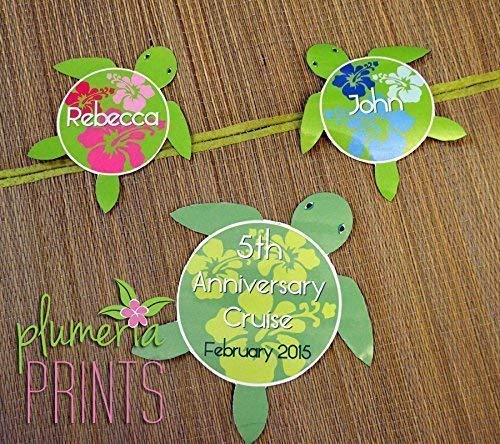 Hawaiian Honu Sea Turtle Magnet Set Personalized for Wedding or Anniversary Cruise Ship Doors