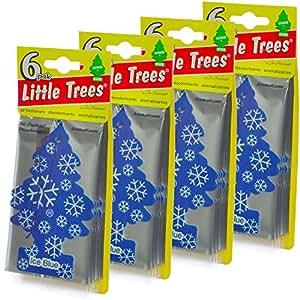 24 Pack Car Freshner 17137 Little Trees Air Freshener Ice Blue Scent - Single Tree per Package