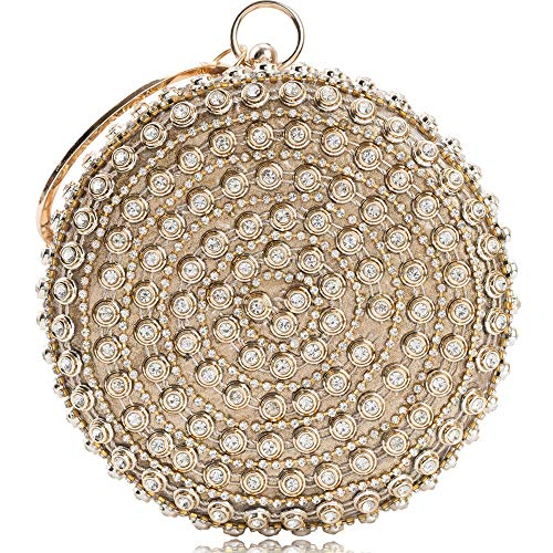 Womens Evening Bag Round Rhinestone Crystal Clutch Purse Ring Handle Handbag For Weddng Prom Party ... (Gold 3)