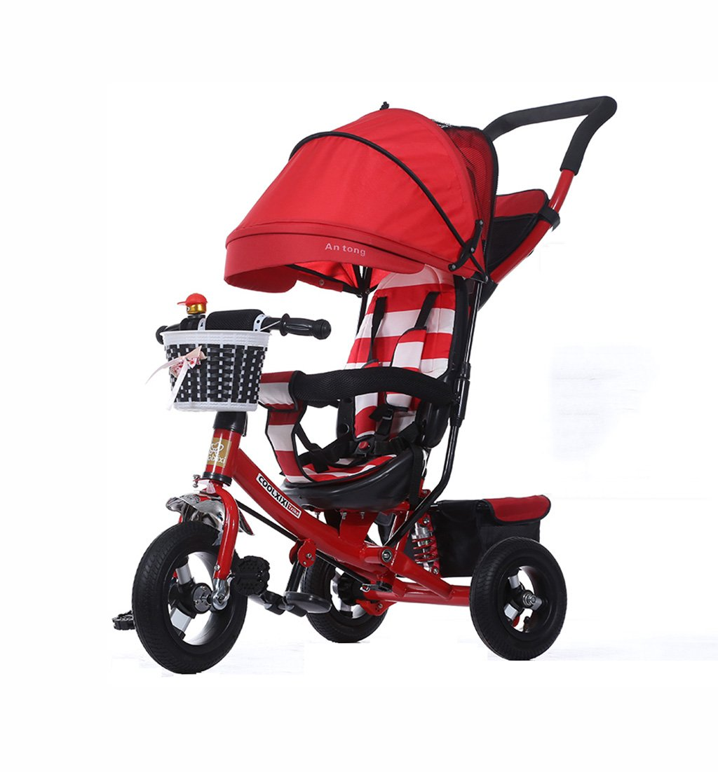子供の三輪車の折りたたみ/衝撃吸収/発泡ホイール赤ちゃんバギーベビー自転車1-5歳の子供の自転車赤ちゃんのベビーカー赤25kg B07F38W3X3