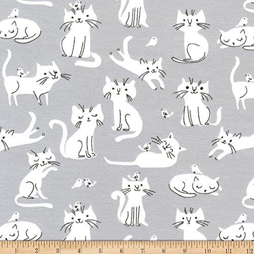 Robert Kaufman Kaufman Laguna Jersey Knit Prints Dolphin Cats Fabric by The Yard,