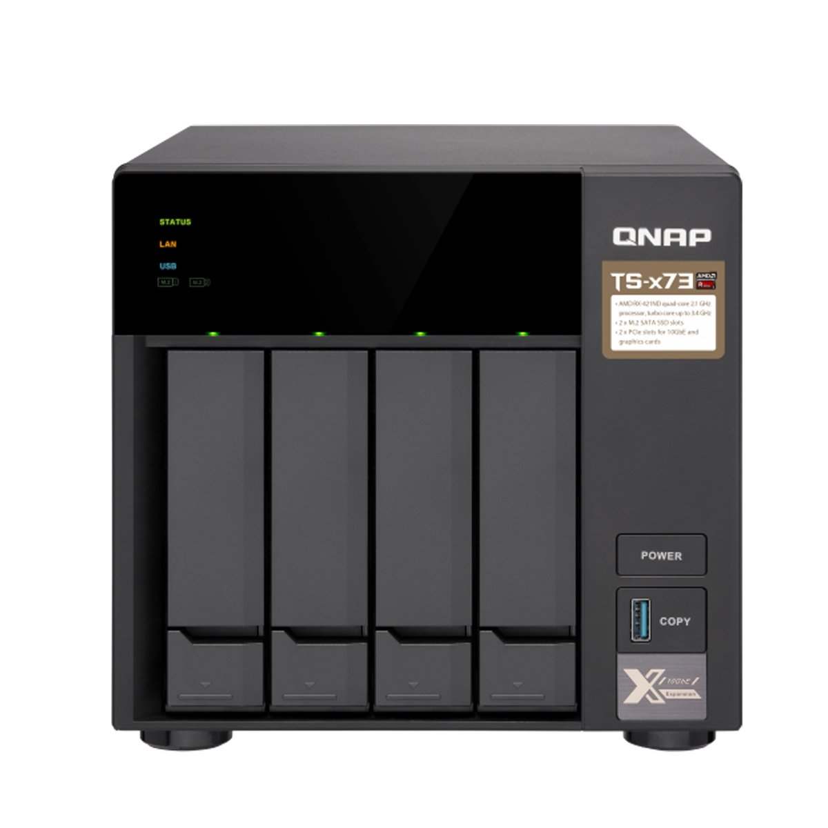 Qnap TS-873-8G-US 8-Bay NAS/iSCSI IP-SAN, AMD R Series Quad-core 2.1GHz, 8GB RAM, 10G-Ready
