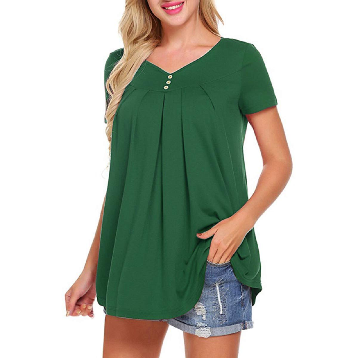 OTINICE Women Summer Tee Shirts V Neck Short Sleeve Button Up Loose Tunic Tops Blouse Green