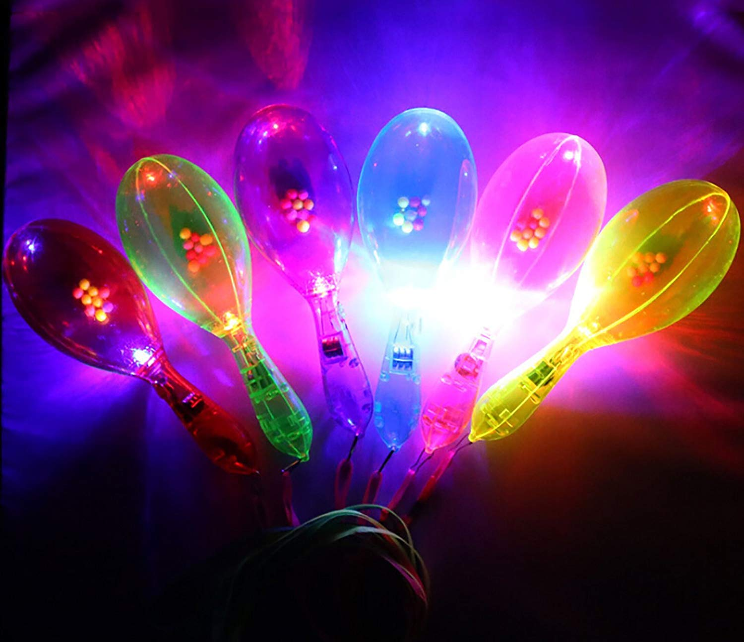B bangcool 12PCS Light Up Maracas LED Maraca Noise Maker Shaker Toys Musical Toy Party Portable Cheering Light Up LED Rattle Toy ( Random Color with Lanyard)