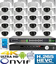 USG 5MP @ 30FPS 16 Camera Security System H.265 Ultra 4K PoE IP CCTV Kit : 16x 5MP 3.6mm Dome Camera + 1x 36 Channel 8MP NVR + 1x 18 Port PoE Network Switch + 1x 4TB HDD : Phone App : Business Grade
