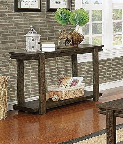 Amazon.com: Gijon Walnut Wood Sofa Table w/Open Shelf by ...