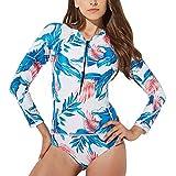 FEIAA Womens Rash Guard Long Sleeve Swimsuit UV Protection Printed Zip Swimwear Beachwear,Floral