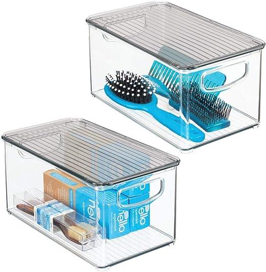 mDesign Juego de 2 cajas de plástico con asas integradas ...