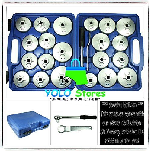 Oil Filter Tool Kit Removal Wrench Cap Car Garage Set Loosen Tighten Cup Socket Truck 23PC By YOLO Stores by YOLO Stores (Image #9)