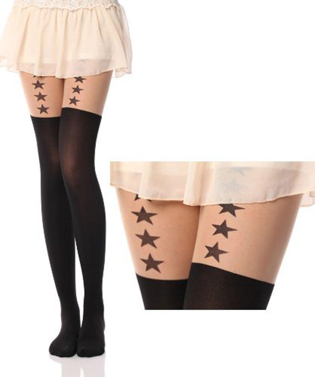 Women Cute Cat Bear Over Knee Socks Stocking Tight Hosiery Tattoo Pantyhose, Love