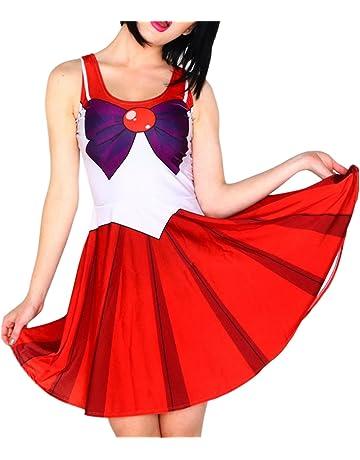 69c7d90553f1f9 BELLYANNA Women's Sailor Moon Cosplay Costume One Piece Skater Dress