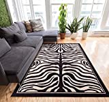 Well Woven Timeless Zebra Black and Beige Rug with Light Carving around Pattern for 3D Appearance Casual Modern Animal Print Styling Perfect to Accentuate Any Space!