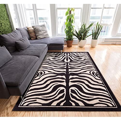 Zebra Animal Print Black & Off-White 3x5 (33 x 5) Area Rug Modern Easy Care & Cleaning Shed Free Carpet