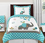 Sweet Jojo Designs Turquoise Blue Gray and White Mod Elephant Girl or Boy Full / Queen Bedding Childrens Bedding Set