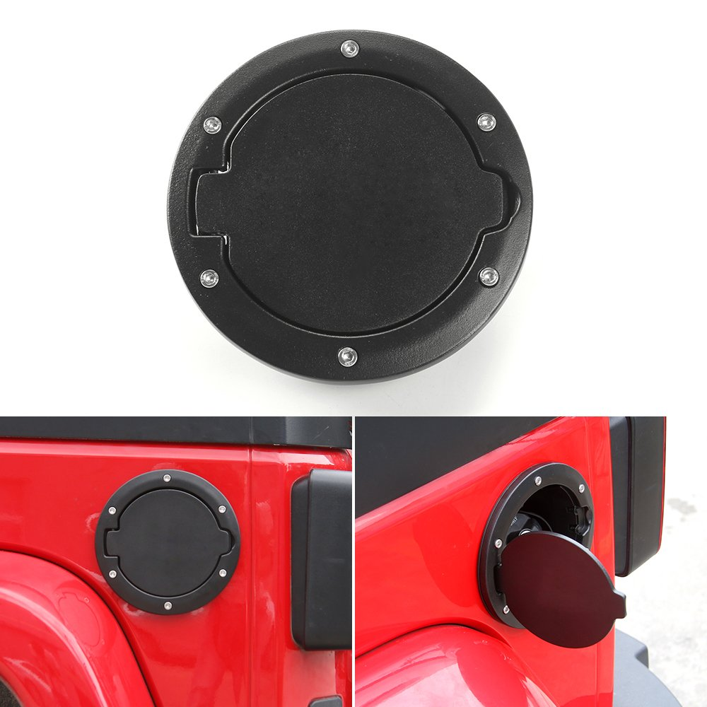 JeCar Aluminum Gas Cap Fuel Filler Door Cover for Jeep Wrangler 2007-2018 JK & Unlimited Accessories (Black)