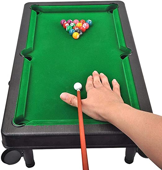 dswl Tablas De Madera Mini Piscina Table Top Billar Snooker Juego 21x12.5inch Mesa De Billar con Bolas De Cus Tiza Rack Mesa De Billar para Los Niños De Interior Y Exterior: Amazon.es:
