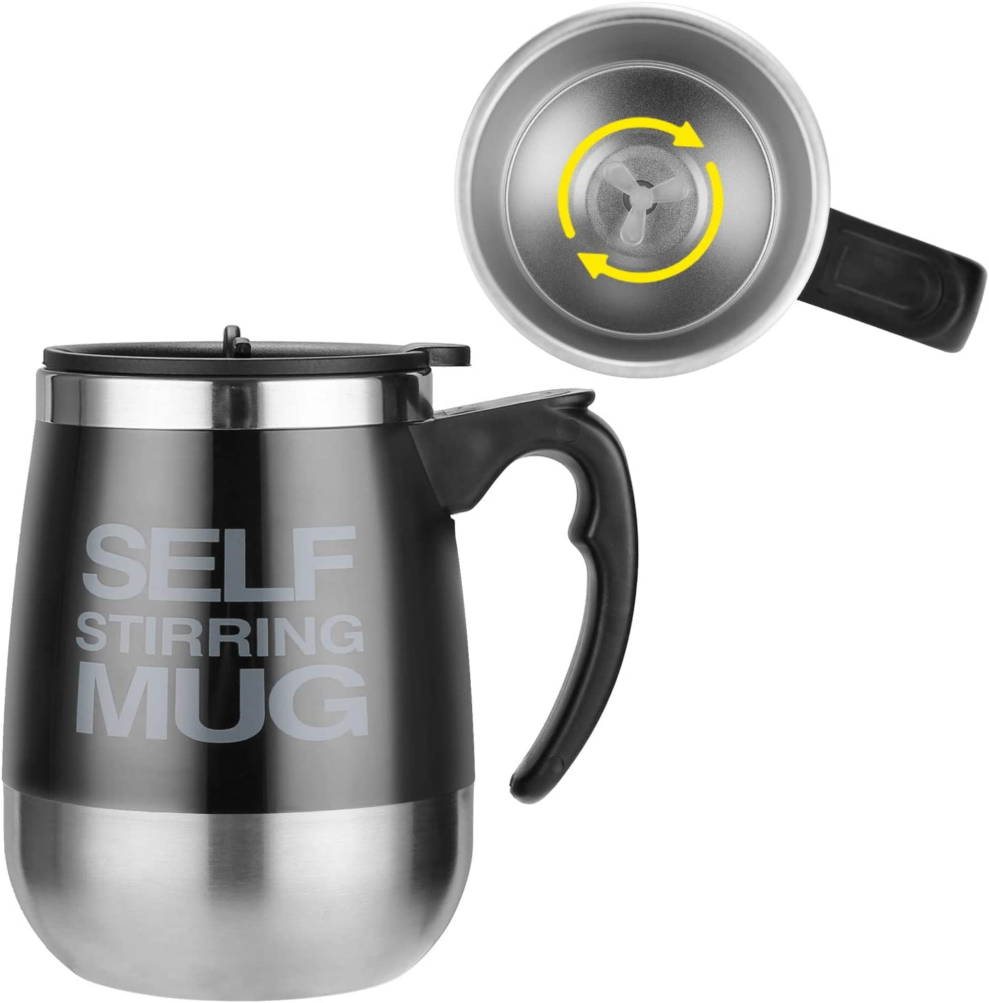 Fusiontec Self Stirring Coffee Mug, Self Stirring Coffee Cup, Stainless Steel Automatic Self Mixing Cup with Lid for Home Office Travelling 450ml/15.2oz, Black