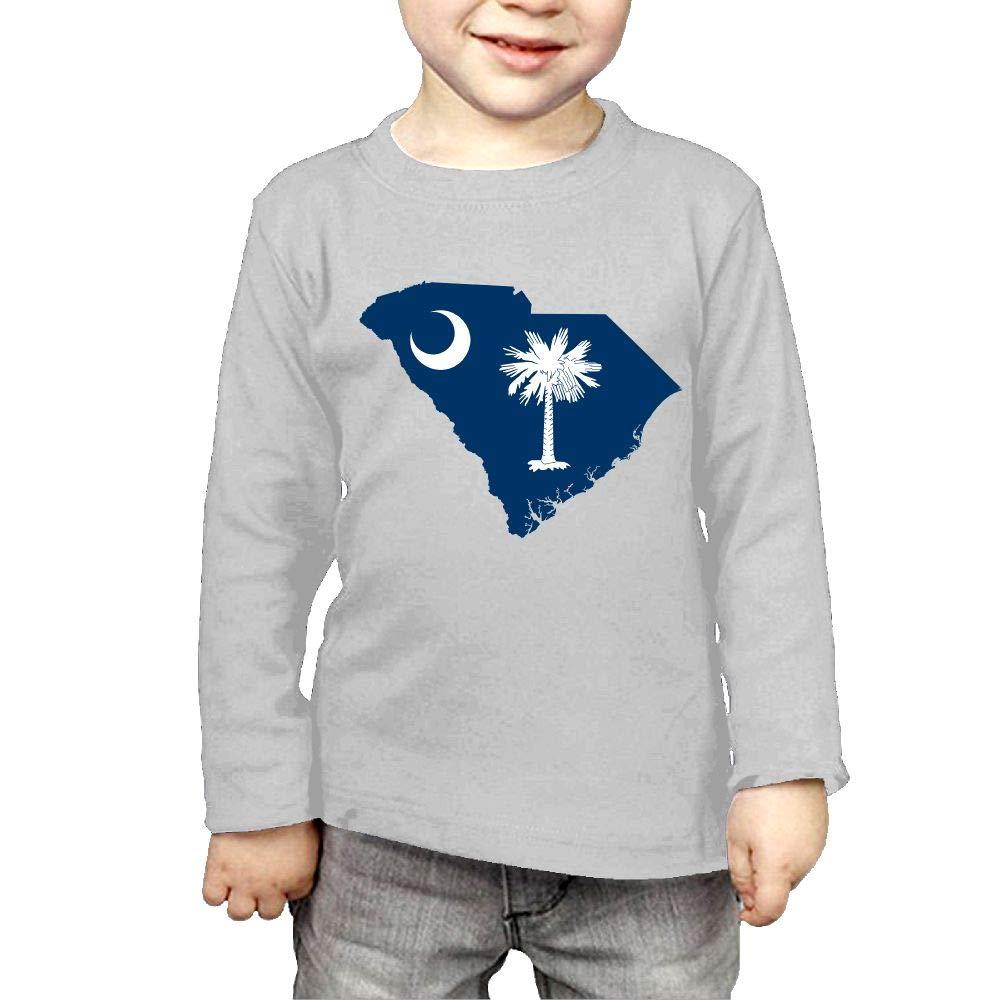 Baby Girls Childrens South Carolina Map Flag Printed Long Sleeve 100/% Cotton Infants Tee Shirt