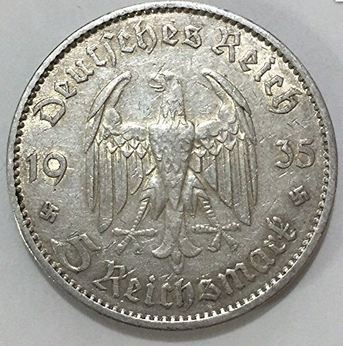 - Circulated Third Reich Nazi 5 Reichsmark Silver Coin, Commemorative Coin Made for 1st Anniversary of Nazi Rule