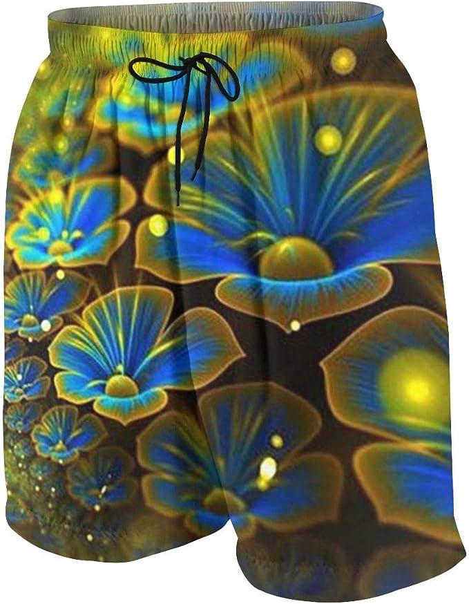 Young Men Quick Dry Drawstring Waist Swim Trunks Board Shorts