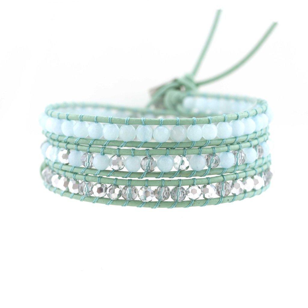 Balla Jade Beaded Genuine Leather Triple Wrap Bracelet Layered Boho Chic Perfect for Women Girls Teens by