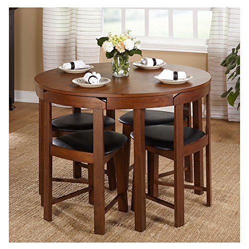 Hideaway Dining Table Home Low Back Harrisburg Tobey Compact Round Dining Set Space-Saving Design Foam Seat Cushions Round Dining Table And Four Chairs 5-APieces MDF Rubberwood - Set Table Low Dining