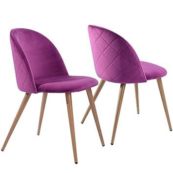 Coavas sillas de Comedor de Terciopelo Conjunto de 2 (púrpura): Amazon.es: Hogar