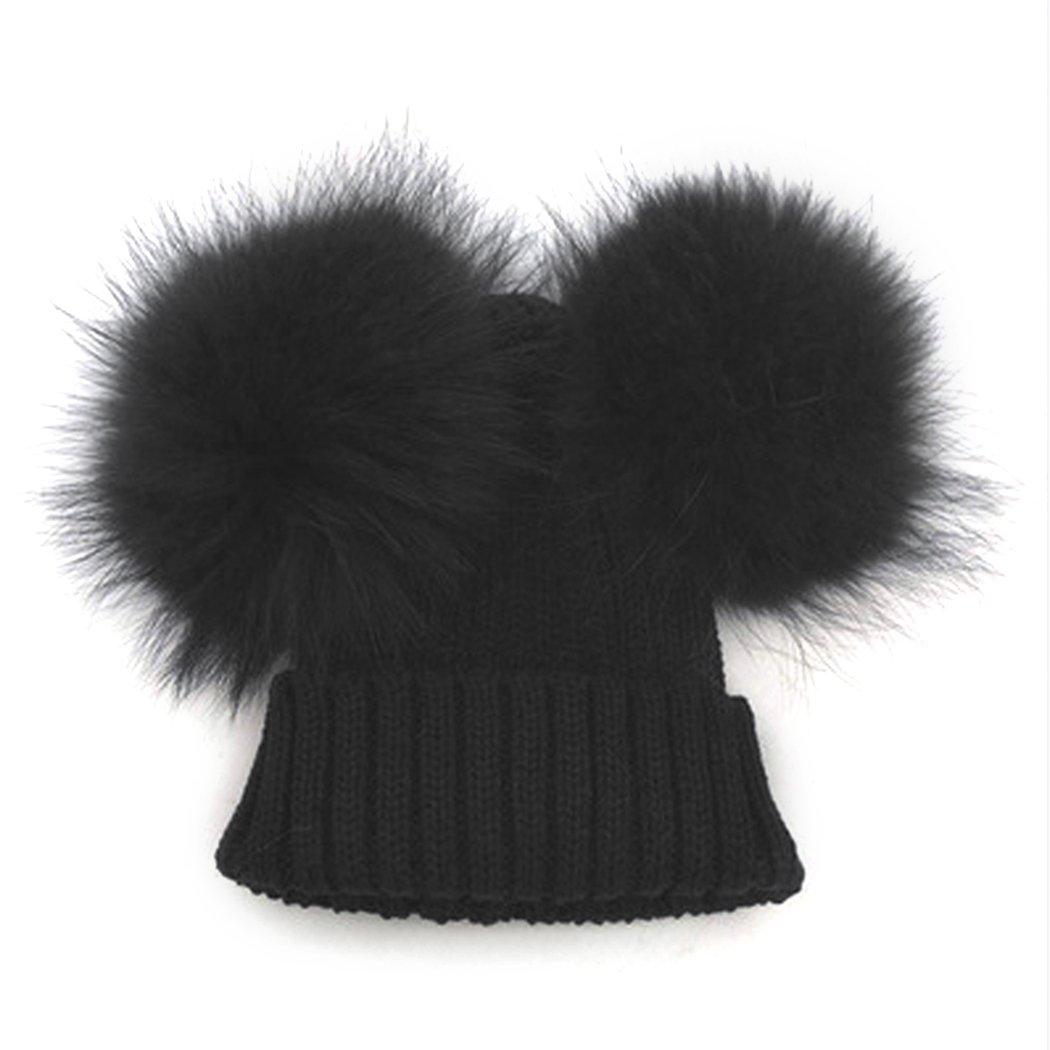 bceb9b0dcc125 Amazon.com  MIOIM Baby Boys Girls Winter Beanie Wool Knit Hat Raccoon Fur  Double Big Ball Pompom Bobble Ski Cap  Clothing