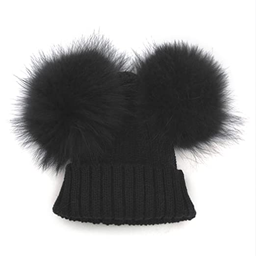 01e724cacb5 MIOIM Baby Boys Girls Winter Beanie Wool Knit Hat Raccoon Fur Double Big  Ball Pompom Bobble