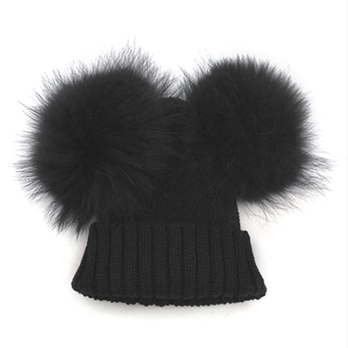 MIOIM Baby Boys Girls Winter Beanie Wool Knit Hat Raccoon Fur Double Big  Ball Pompom Bobble 1a7d0034658