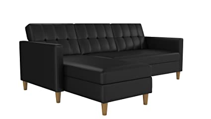 DHP Hartford Storage Sectional Futon with Interchangeable Chaise,  Space-saving Design with Multi-position Back, Wooden Legs, Black Faux  Leather