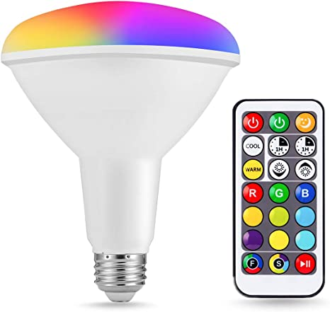 Party 1200LM 15W RGB LED 120W Equivalent JandCase LED Color Changing Light Bulb Remote Control Kitchen Dimmable Reflector Bulb E26 Base Can Recessed Lighting for Ceiling Cans BR40 Floodlight