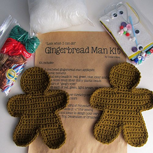 Crochet Gingerbread Man Craft Kit / Holiday Craft Kit for Kids / Decorate Your Own Gingerbread Man / Holiday Christmas Decor / DIY Crafts from Little Yellow Bird Studio