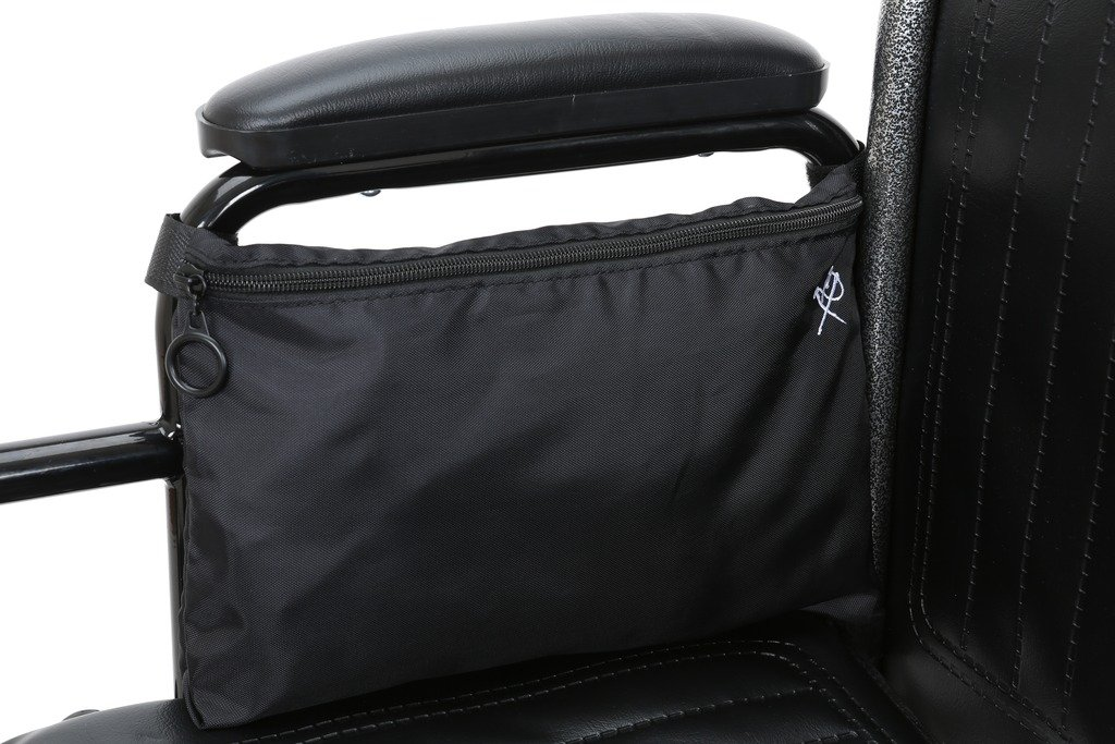 Pembrook Wheelchair Pouch Bag - Black - Great simple accessory pack for your mobility devices. Fits most Scooters, Walkers, Rollators - Manual, Powered or Electric Wheelchairs