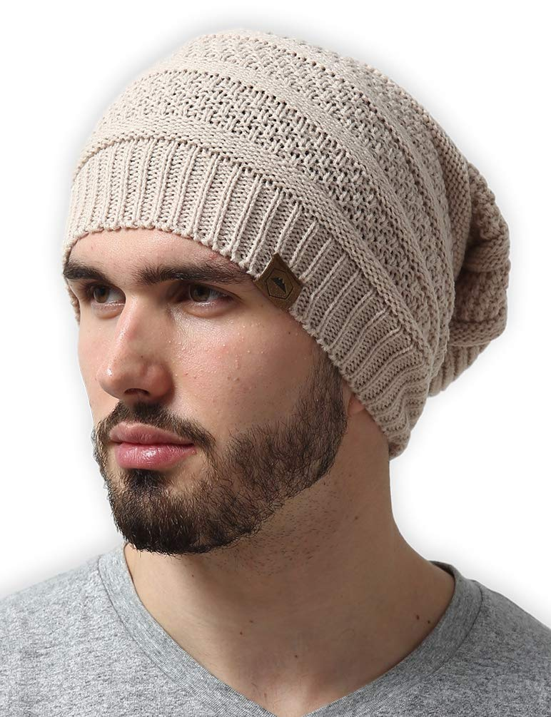 4bb3ca98b Slouchy Cable Knit Beanie - Chunky, Oversized Slouch Beanie Hats for Men &  Women - Thick, Warm & Stylish Winter Hats - Serious Beanies for Serious ...