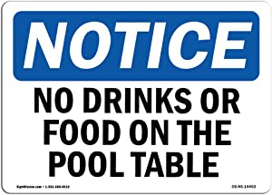 OSHA Notice Sign - No Drinks Or Food On Pool Table   Choose from: Aluminum, Rigid Plastic or Vinyl Label Decal   Protect Your Business, Construction Site, Warehouse & Shop Area   Made in The USA