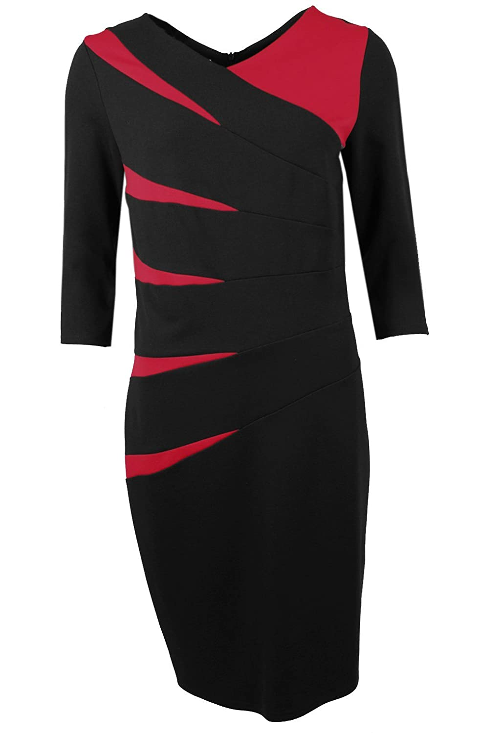 Steilmann Red & Black Paneled Dress