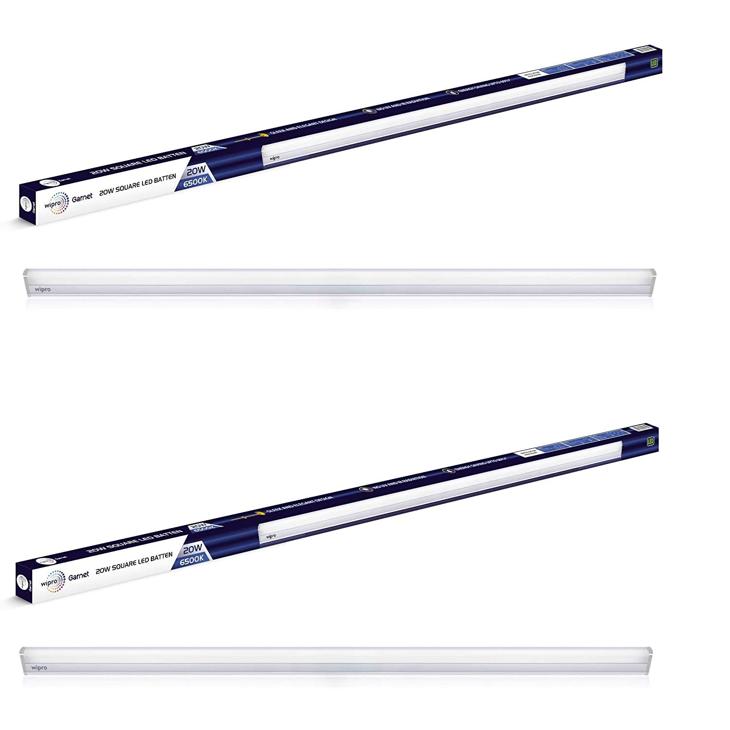 Wipro Garnet 20-Watt LED LED Batten (Pack of 2, White) (D532065_2)