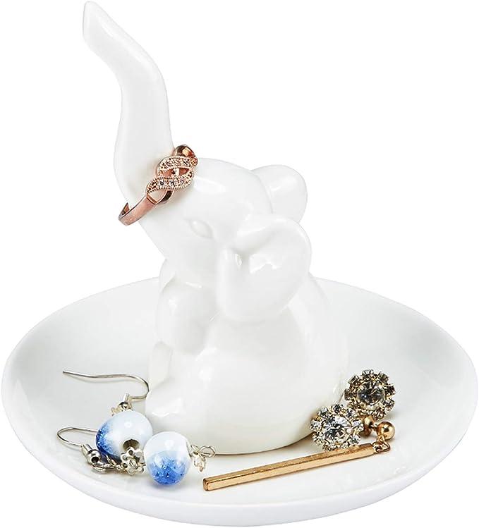 Gold Color Porcelain Elephant Ring Dish