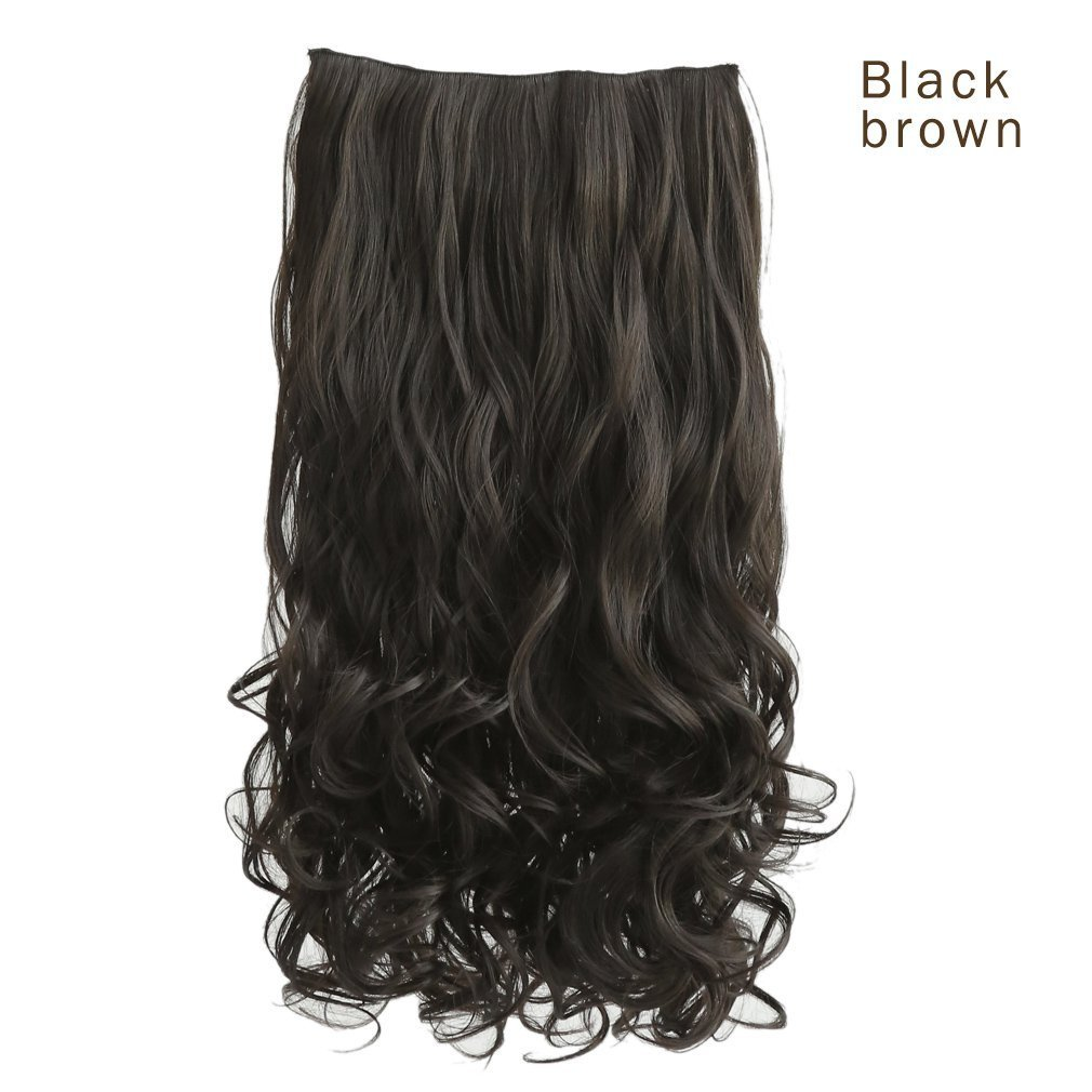 REECHO 20 1-pack 3/4 Full Head Curly Wave Clips in on Synthetic Hair Extensions Hair pieces for Women 5 Clips 4.6 Oz Per Piece - Dark brown YWMYSELF MH268_DarkBrown