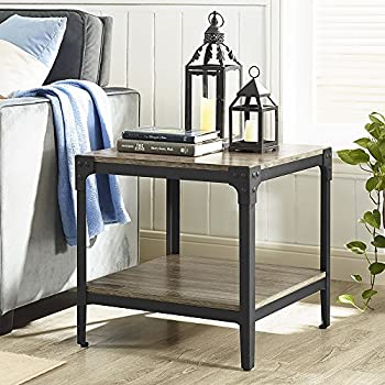 we furniture angle iron rustic wood end table set of 2 driftwood