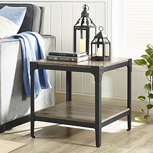WE Furniture Angle Iron Rustic Wood End Table, Set of 2 - Driftwood (Living Room Side Tables Set Of 2)