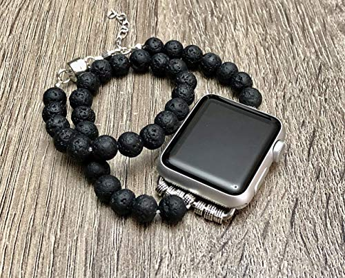 (Black Lava Stones Bracelet For Apple Watch All Series 38mm 40mm 42mm 44mm Handmade Double Wrap Natural Volcanic Beads Adjustable Size Apple iWatch Band Fashion Jewelry Apple Watch Bracelet)