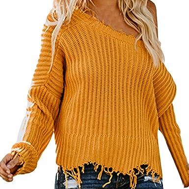 Luckycat Mujeres con Cuello en v Manga Larga Jersey de Punto Suelto suéter Jumper Tops Cortos: Amazon.es: Ropa y accesorios