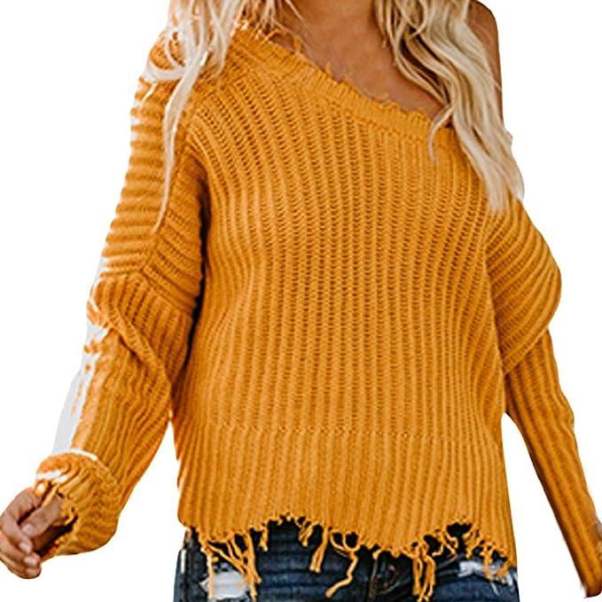 Luckycat Mujeres con Cuello en v Manga Larga Jersey de Punto Suelto suéter Jumper Tops Cortos