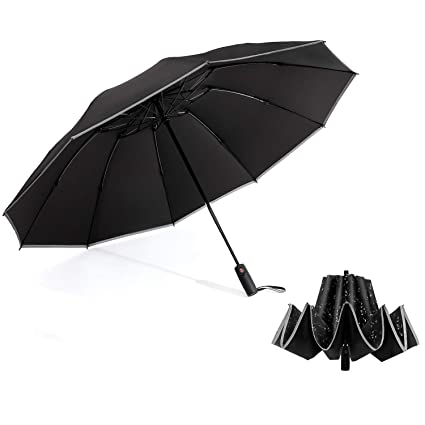 Automatic Reverse Umbrella 3 Folding Reflective Anti-UV Sun Rain Large Umbrella