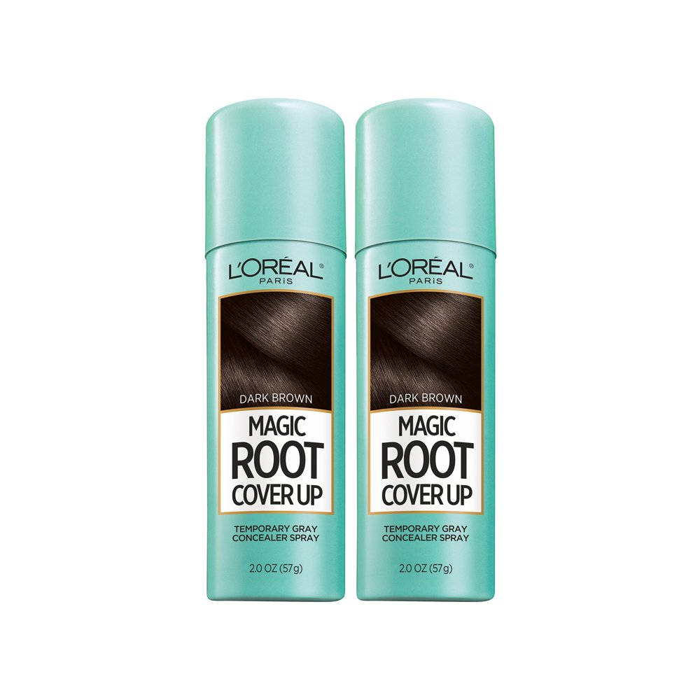 L'Oreal Paris Root Cover Up Temporary Gray Concealer Spray, Dark Brown 2 oz (Pack of 2) (Packaging May Vary) by L'Oreal Paris